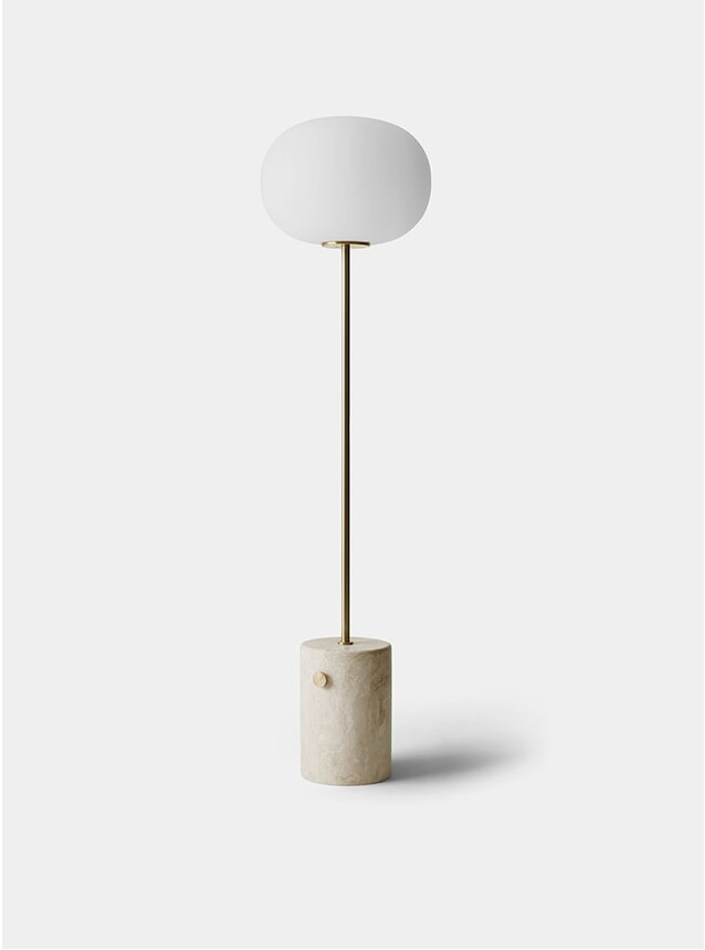 Brushed Brass / Travertine JWDA Floor Lamp