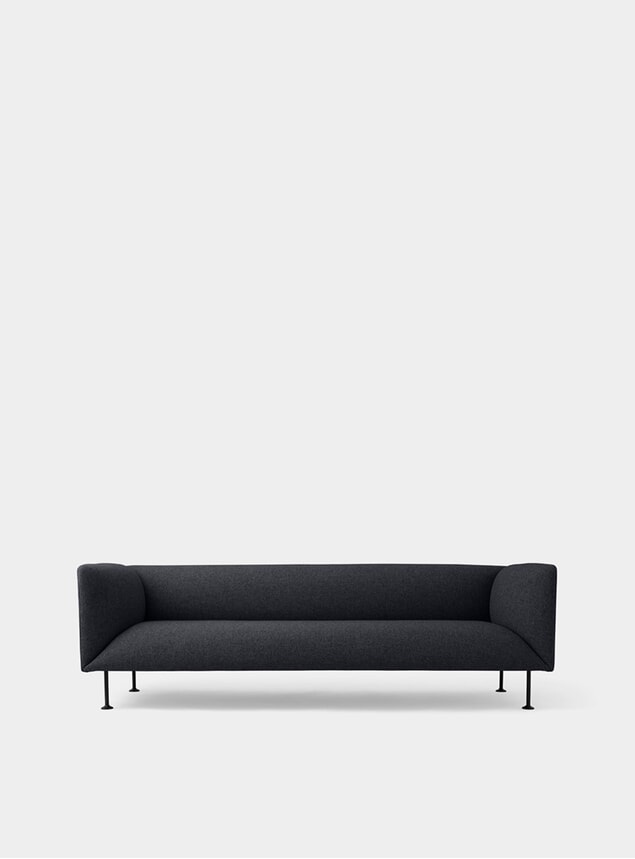 Dark Grey Melange Godot 3 Seater Sofa