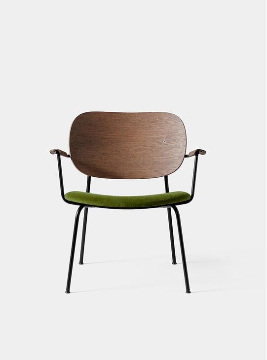 Dark Stained Oak / City Velvet Co Lounge Chair