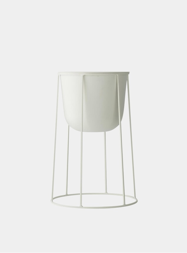 White Medium Wire Stand & Plant Pot