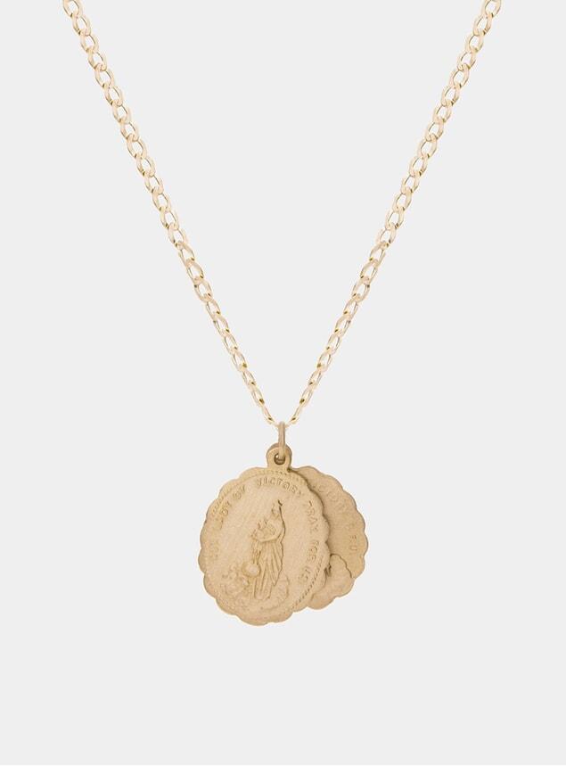 14k Matte Gold Saints Necklace