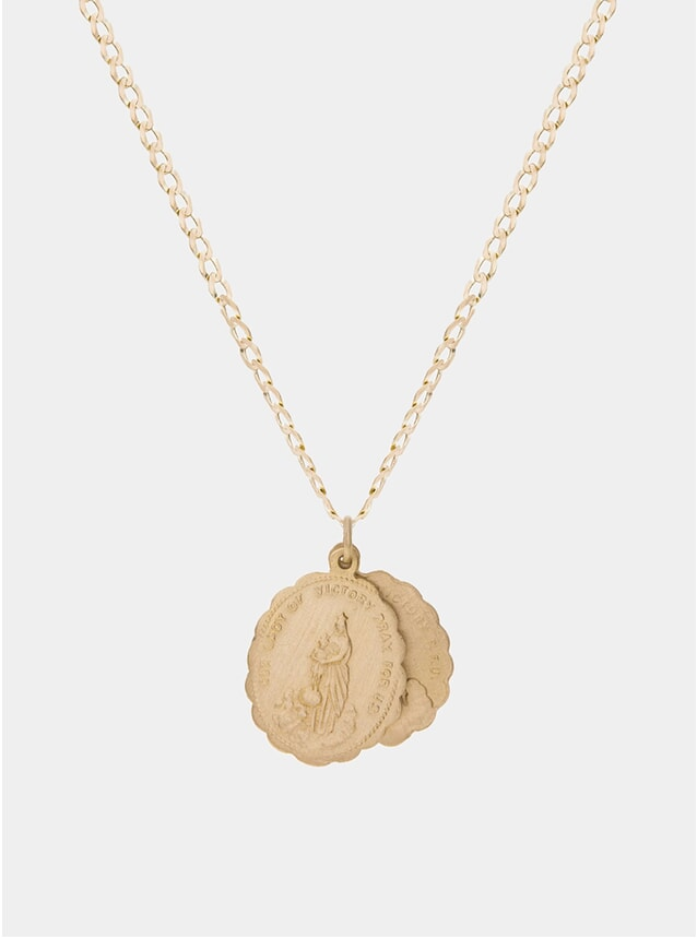 14k Matte Gold Saints Necklace