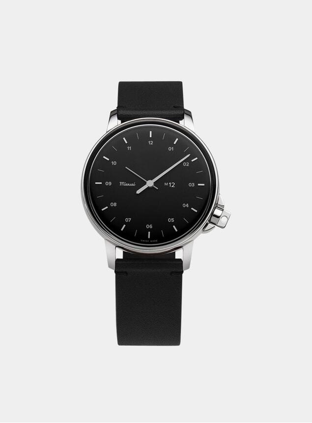 Black / Black Leather M12 Quartz Watch