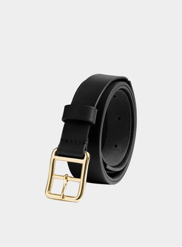 Black Leather Skinny Belt