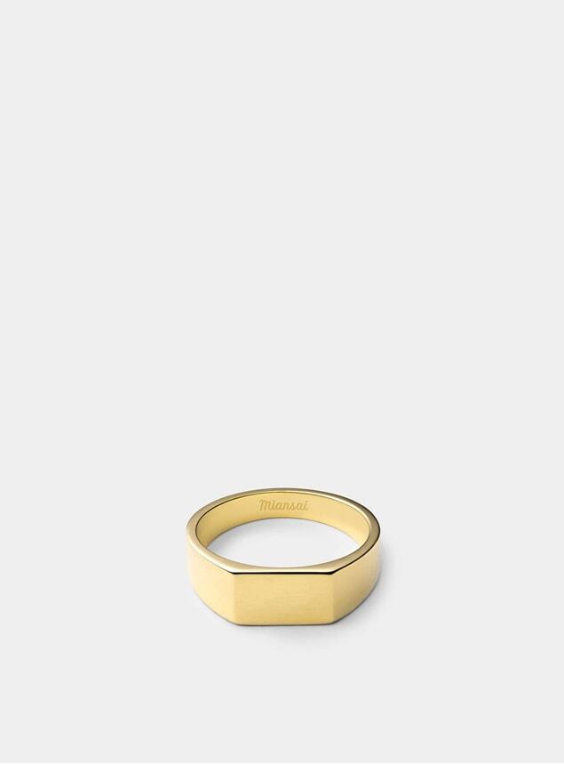 Gold Vermeil Geo Signet Ring