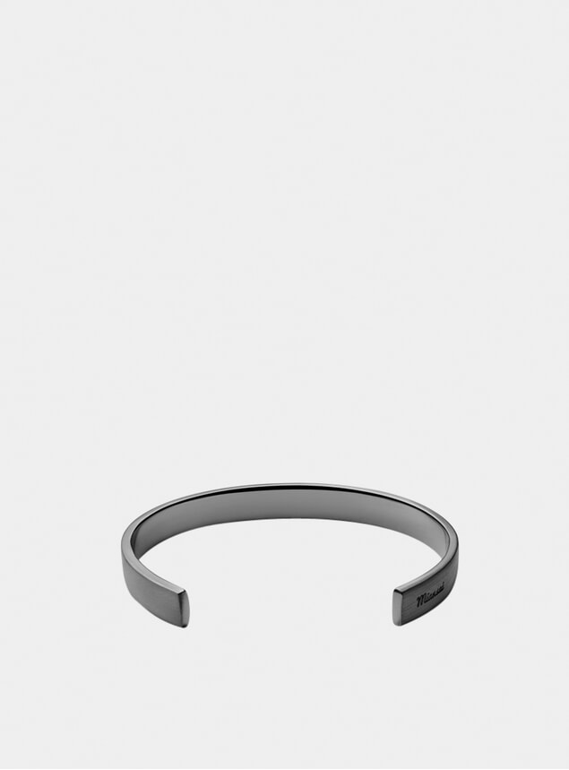 Matte Black Rhodium Label Cuff