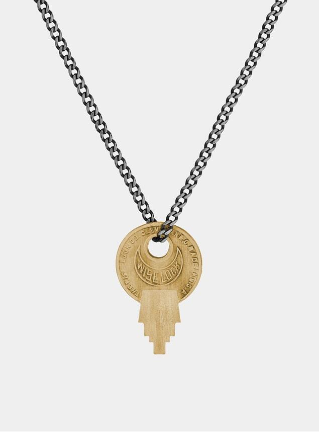 Matte Brass Wise Lock Necklace