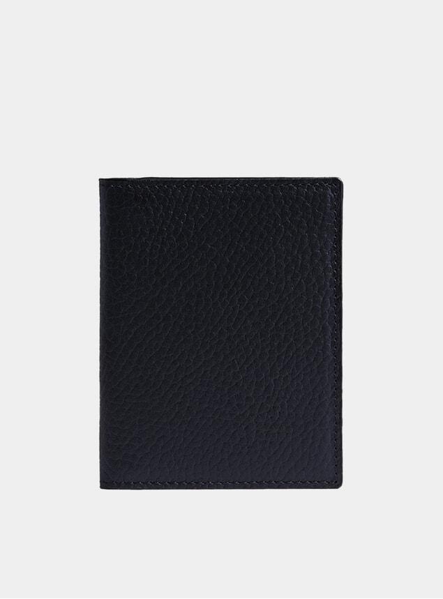 Navy Textured Vertical Wallet