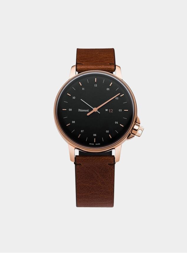 Rose / Black / Cognac Leather M12 Watch