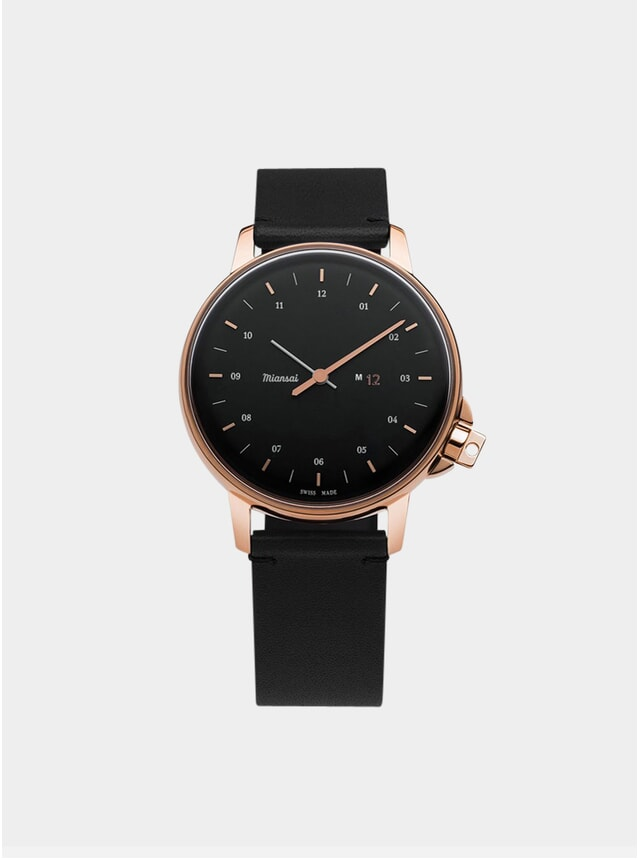 Rose / Black Leather M12 Watch