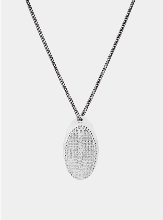 Silver NYC Sewer Penny Chain Necklace