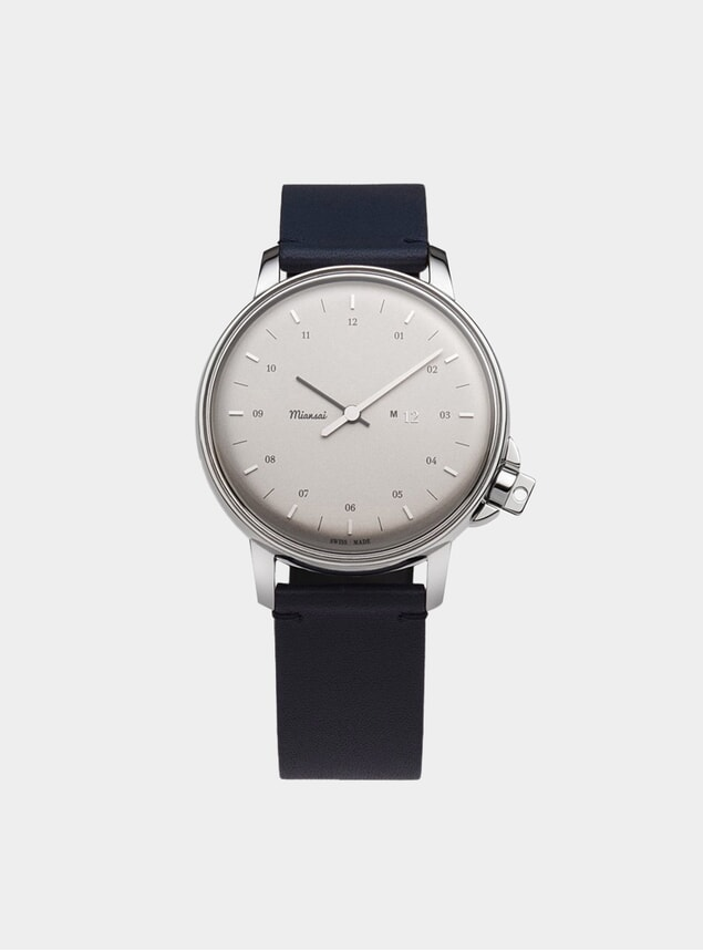 Swiss Silver / Navy Leather M12 Watch