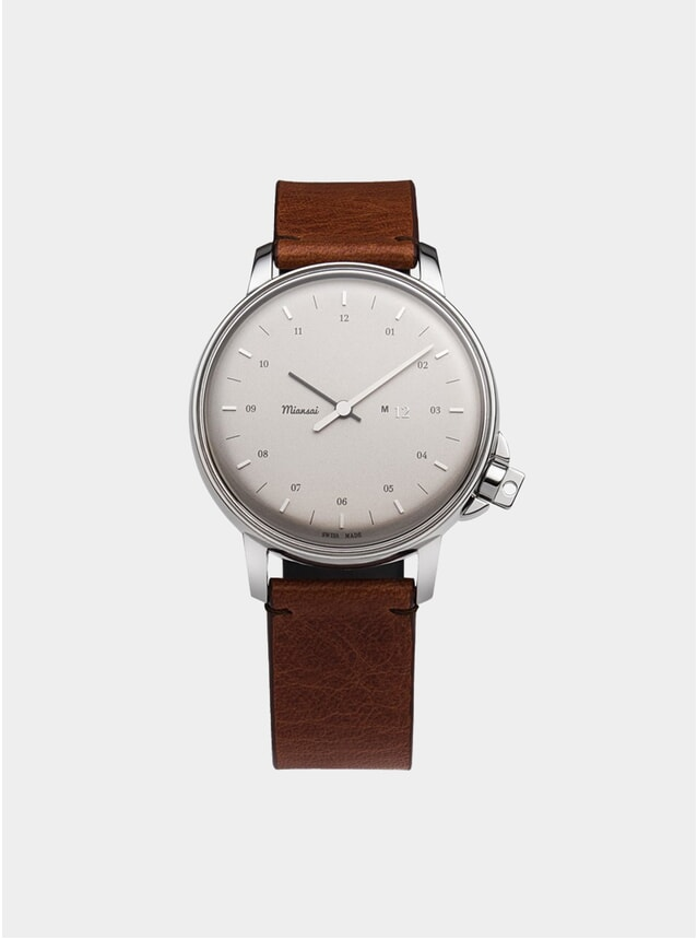 Swiss Silver / Vintage Cognac Leather M12 Watch