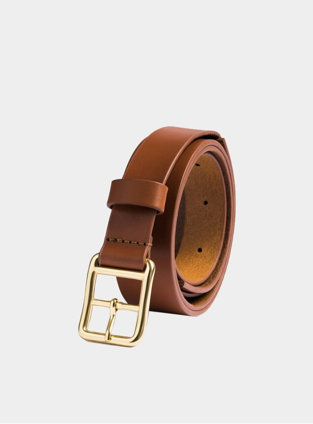 Tan Leather Skinny Belt