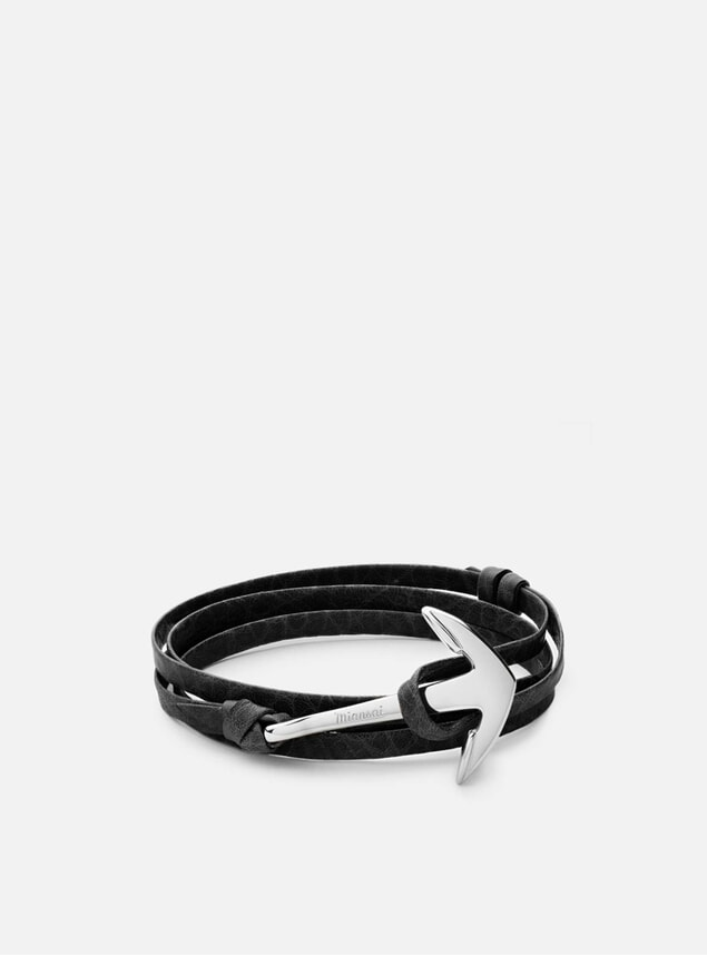Silver Anchor on Leather Bracelet - Asphalt