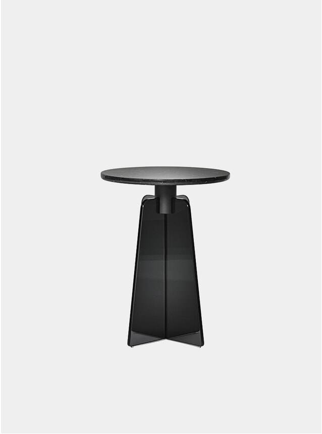 Black Glass / Black Marble Cupola Side Table