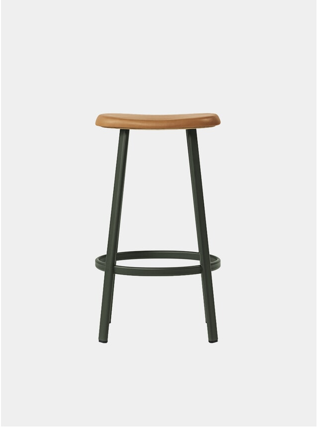 Green / Cognac Leather Anno Bar Stool