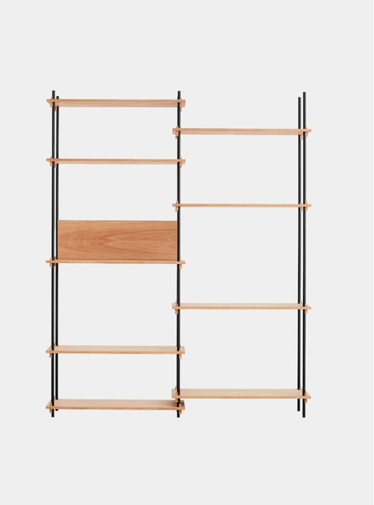 Oak Tall Double Shelving System