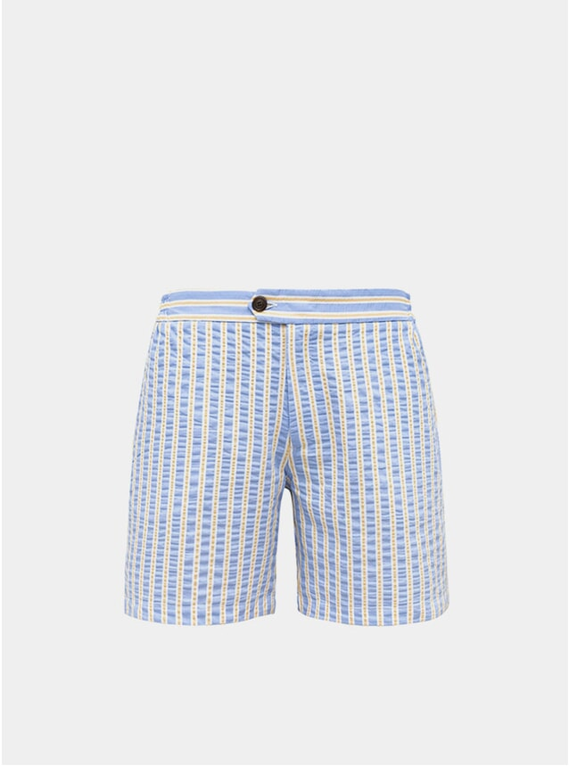 Sky Blue & Yellow Tailored Original Swim Shorts