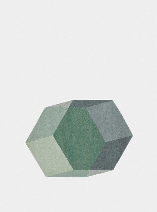 Green Hexagon Iso Isometric Rugs