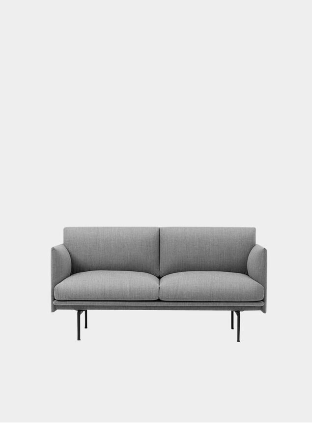 Grey Fabric Two Seater Outline Sofa
