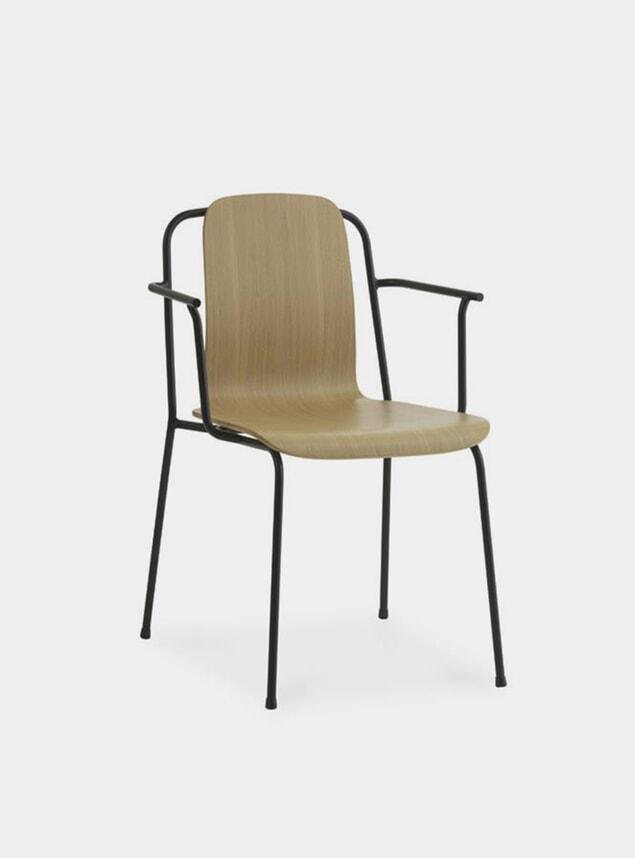 Oak / Black Steel Studio Armchair