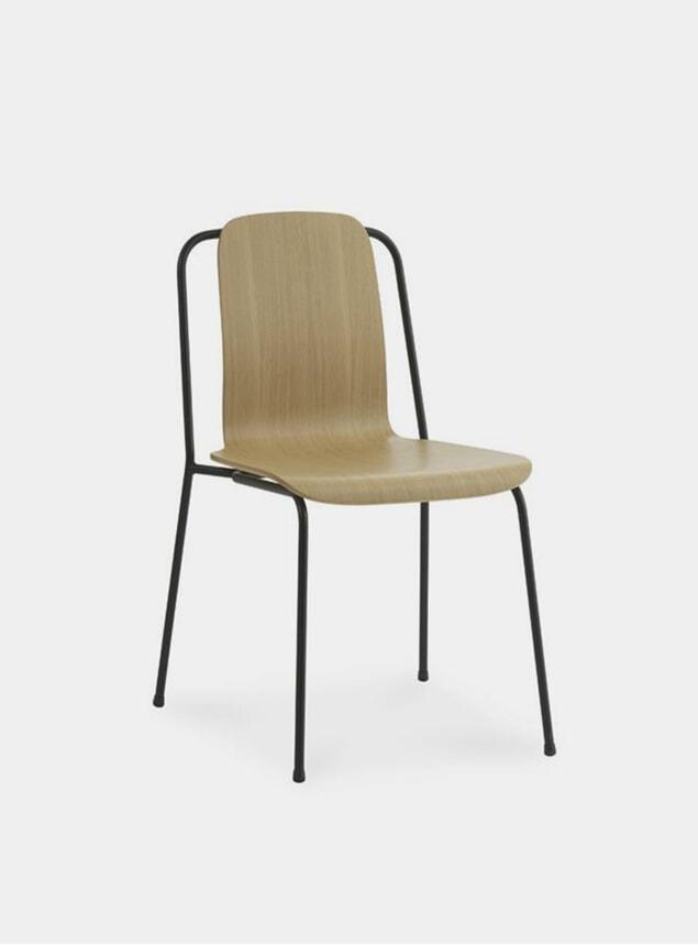 Oak / Black Steel Studio Chair