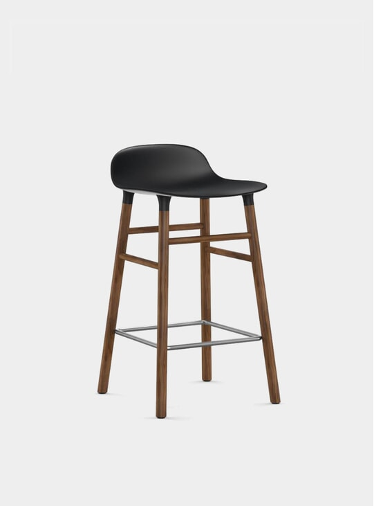 Black / Walnut Form Bar Stool
