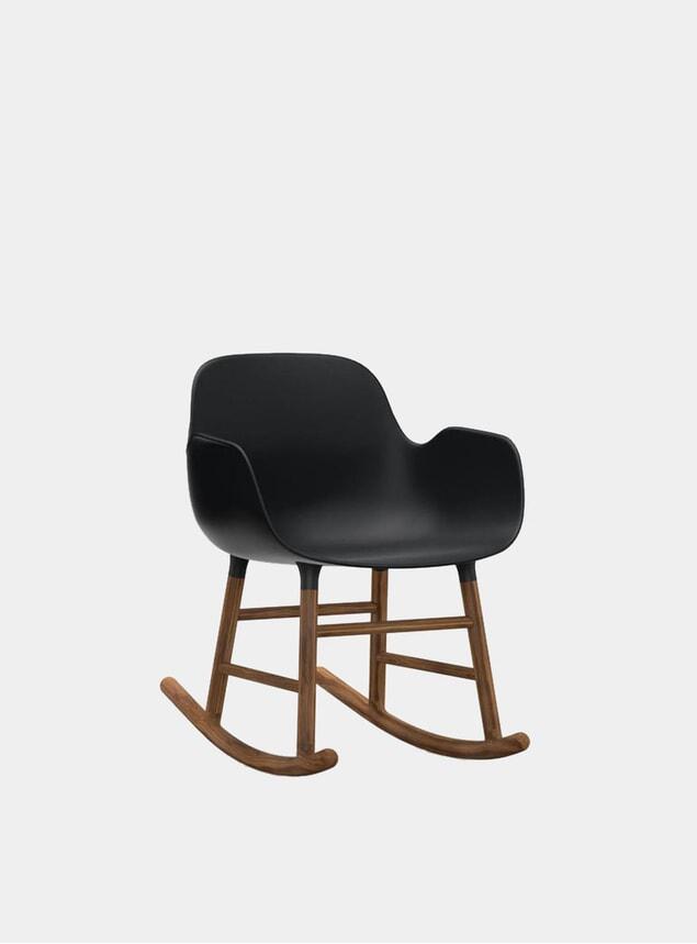 Black / Walnut Form Rocking Armchair