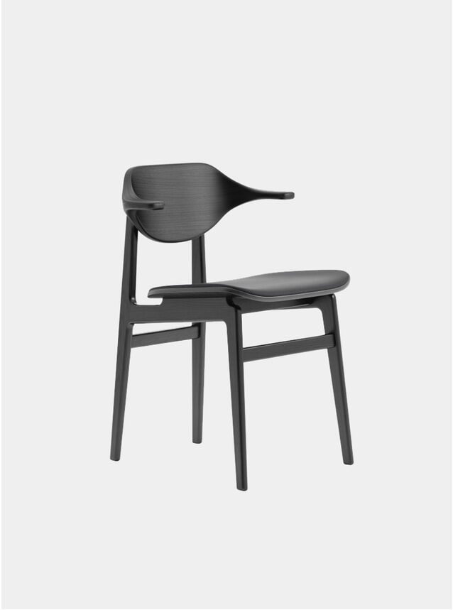 Black / Black Vintage Leather Buffalo Dining Chair