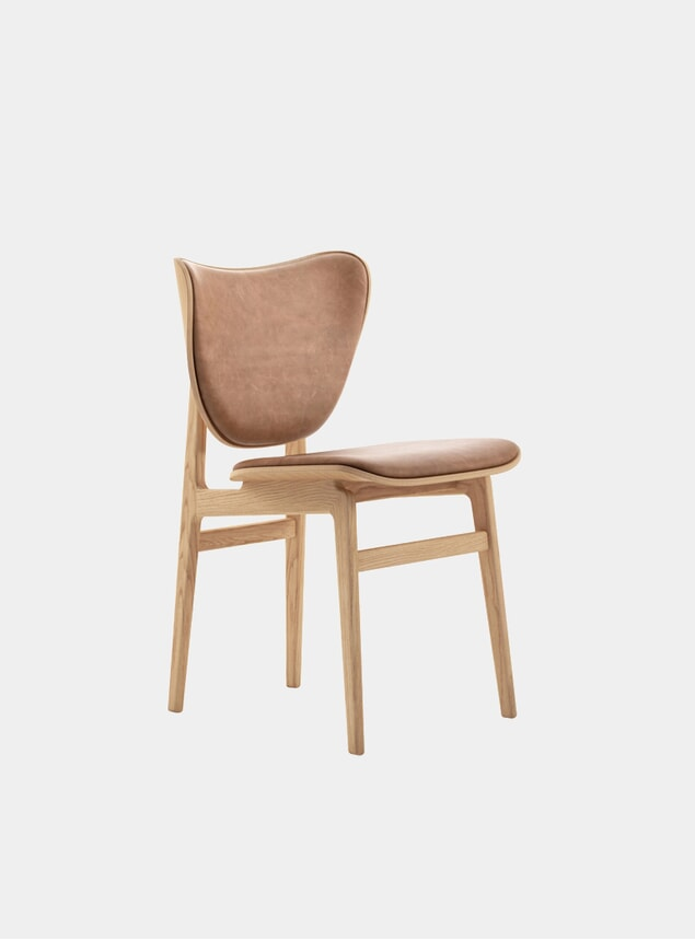 Camel Leather / Natural Frame Elephant Dining Chair