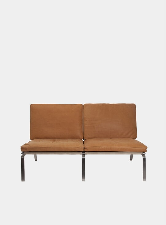 Cognac Leather Two-Seater Man Sofa