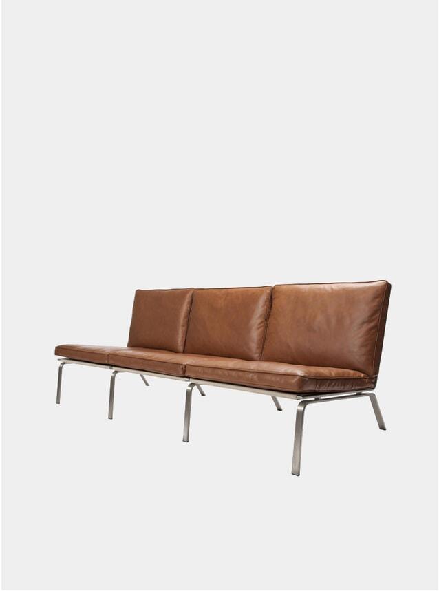 Cognac Vintage Leather Three-Seater Sofa