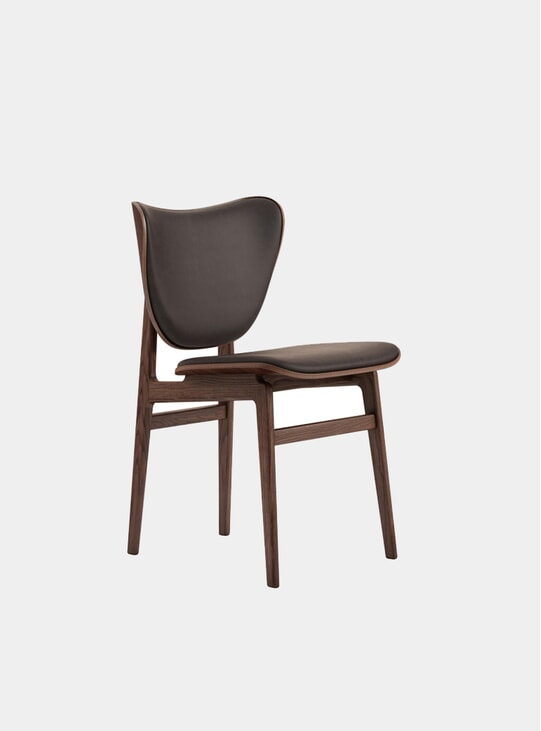 Dark Brown Leather / Dark Stained Elephant Dining Chair