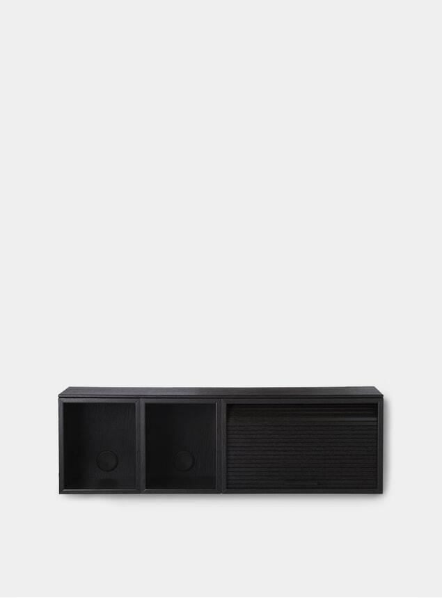 Black Painted Oak Hifive 100cm Slim Wall Cabinet