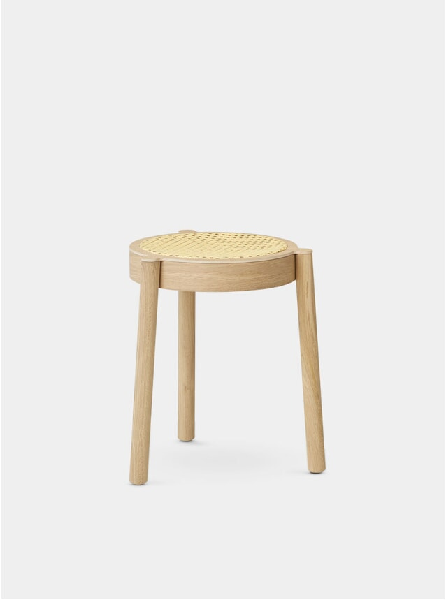 Light Oiled Oak / Cane Mesh Pal Stool