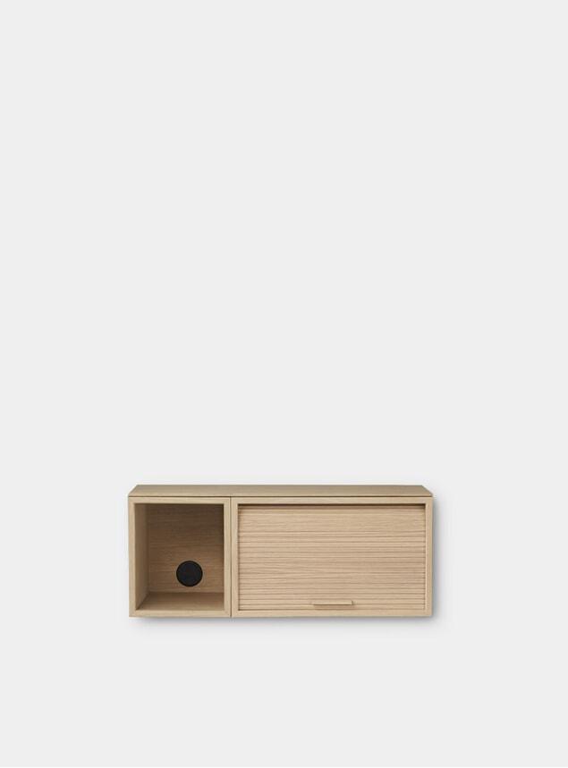 Light Oiled Oak  Hifive 75cm Slim Wall Cabinet