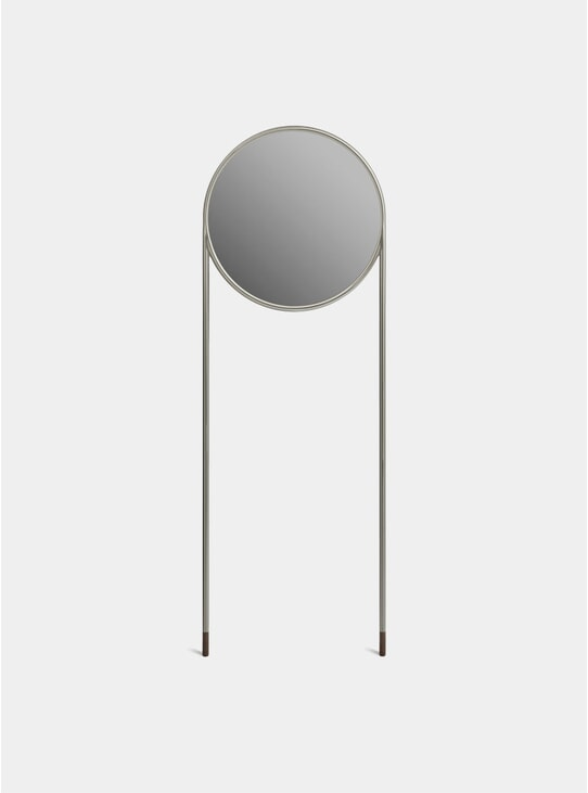 Nickel / Brown Cork Circular Standing Mirror