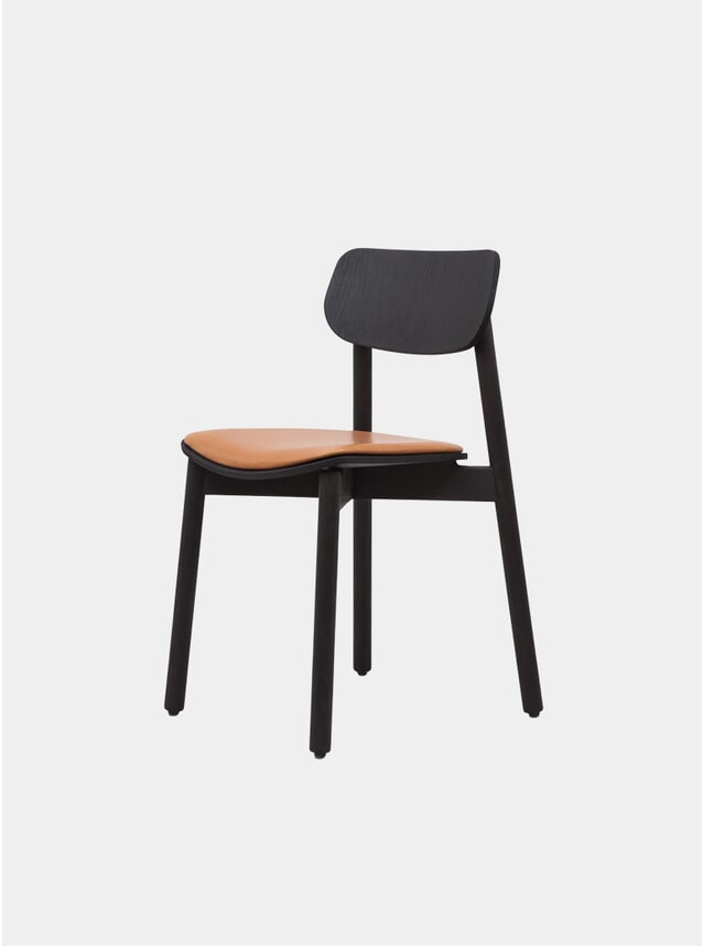 Black / Cognac Leather Upholstered Otis Dining Chair