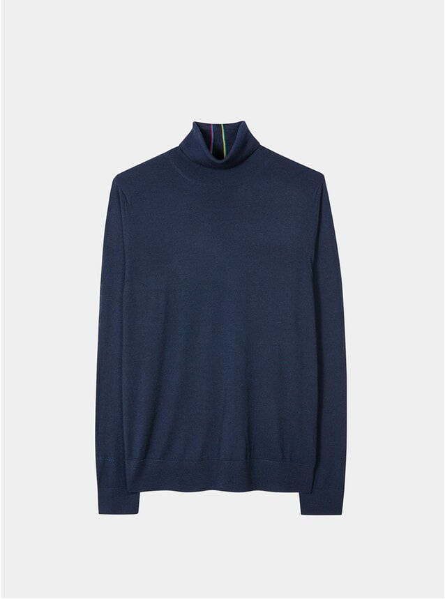 Navy Merino-Wool Roll Neck Sweater
