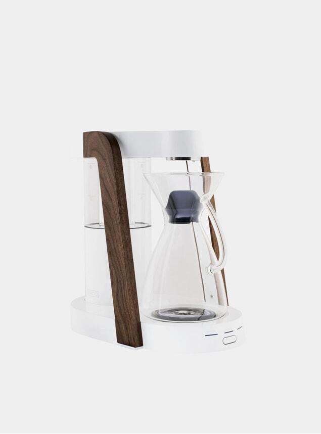 White / Walnut Eight Coffee Maker