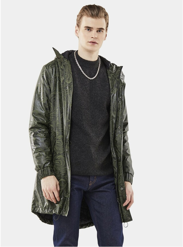 Olive Long Quilted Parka