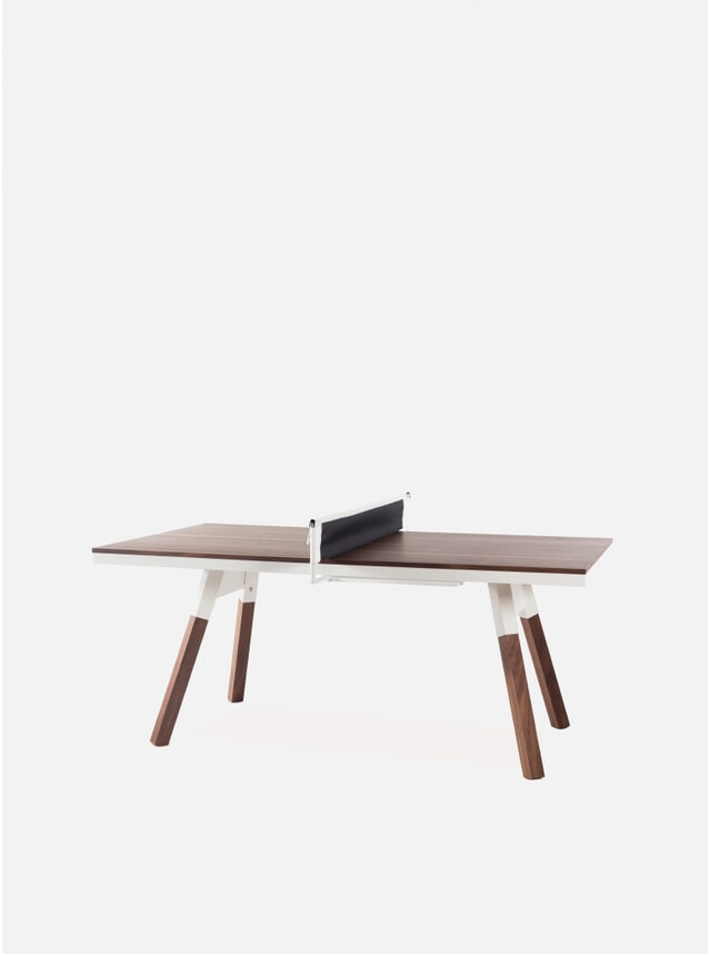 White / Walnut You & Me Indoor Ping Pong Table