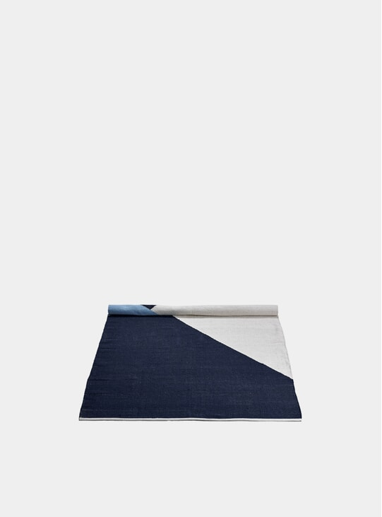 Blue / White Horizon Wool Rug