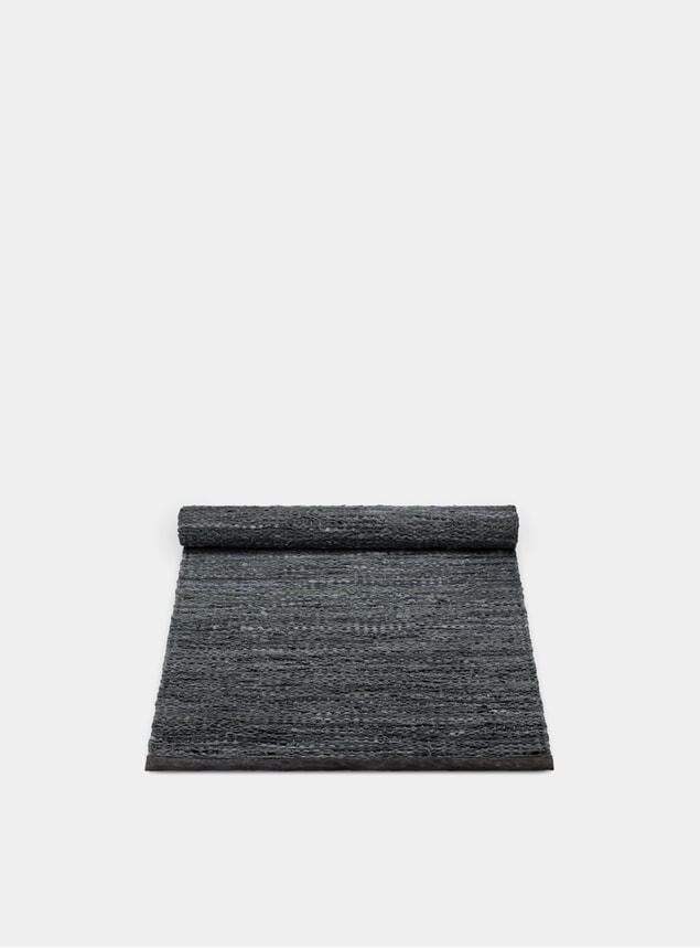 Dark Grey Leather Rug