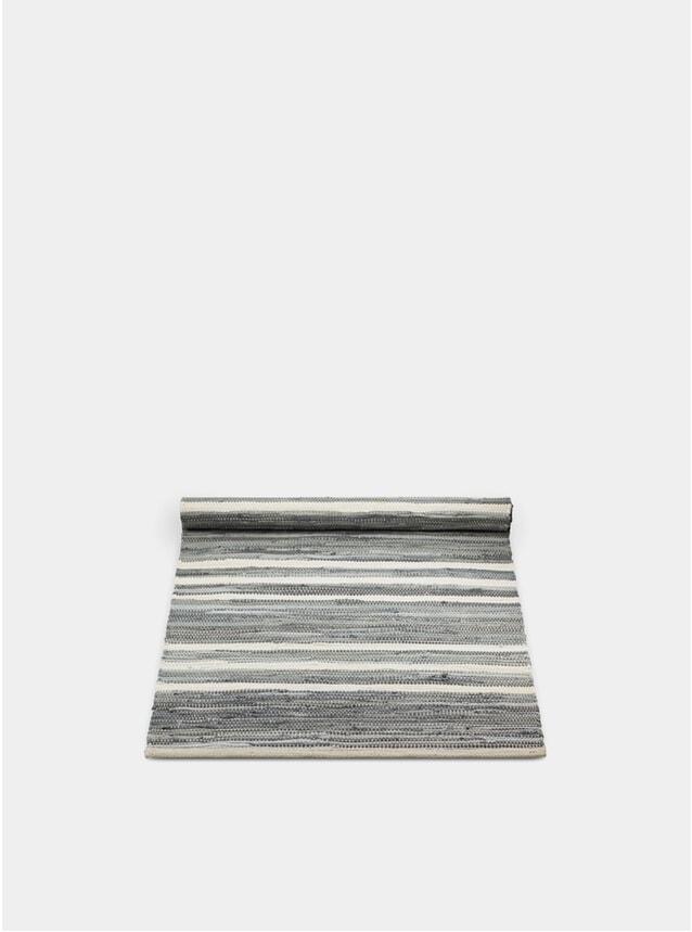 Grey / Off White Striped Cotton Rug