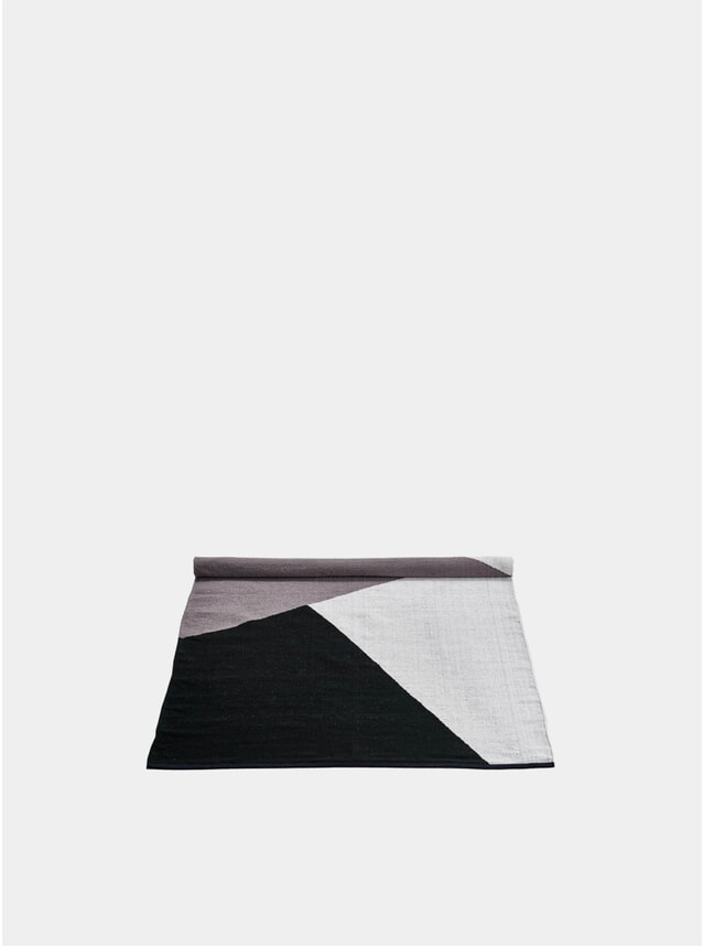 Large Black / Grey / White Horizon Wool Rug