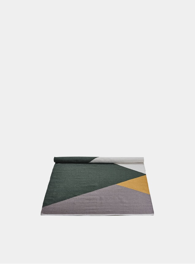 Large Green / Amber / Grey Horizon Wool Rug