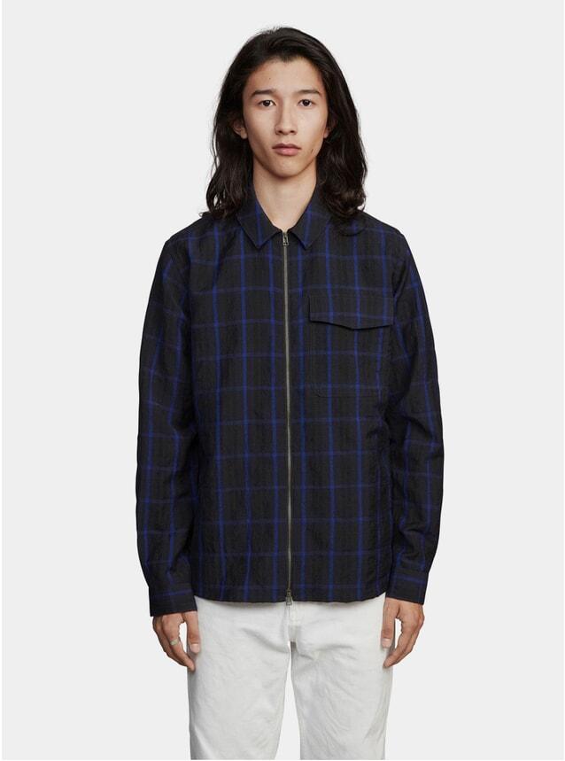 Dark Blue Window Pane Zipshirt