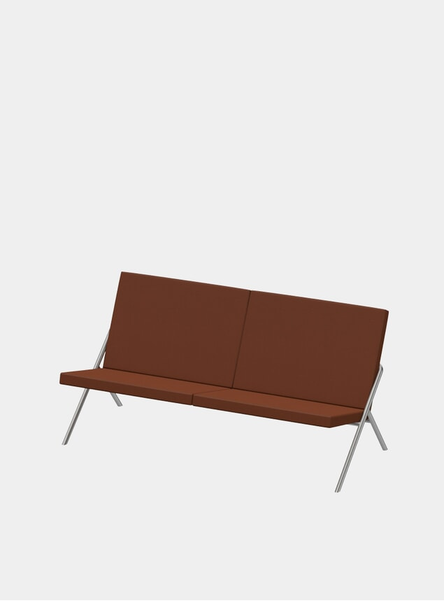 Cinnamon Nappa DL2 / Steel Euclides Two Seater Sofa